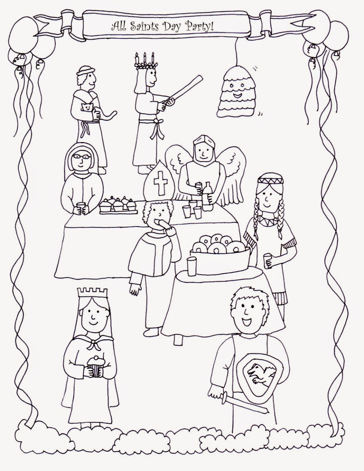 Free Coloring Pages For All Saints Day  Drawn2BCreative All Saints Day Coloring Page