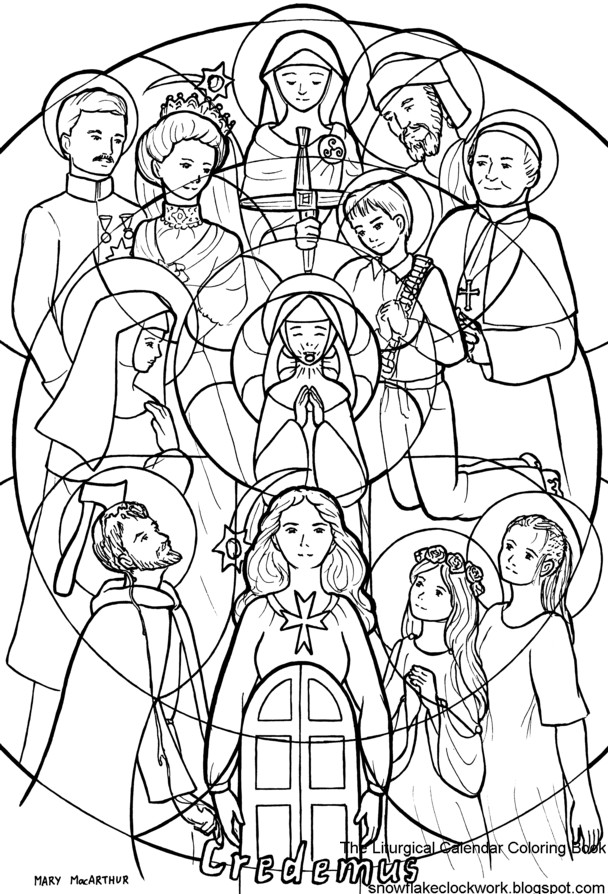 Free Coloring Pages For All Saints Day  Snowflake Clockwork All Saints and All Souls