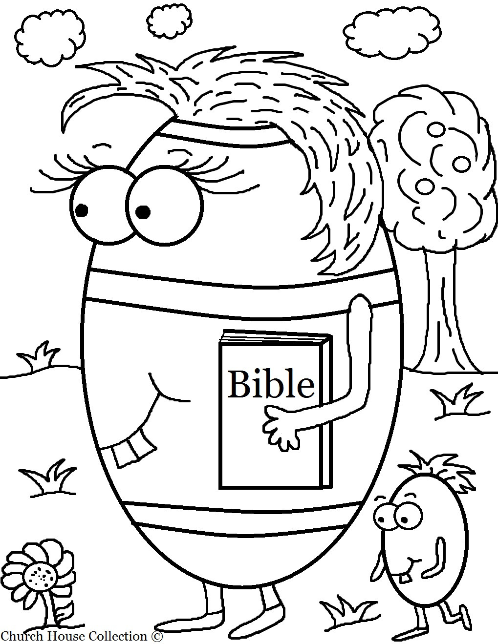 Free Coloring Pages For Sunday School  Church House Collection Blog Free Easter Egg Carrying Her