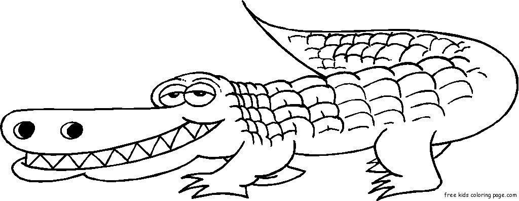 Free Coloring Pages Of Alligators  Grinning Alligator coloring pages print outFree Printable