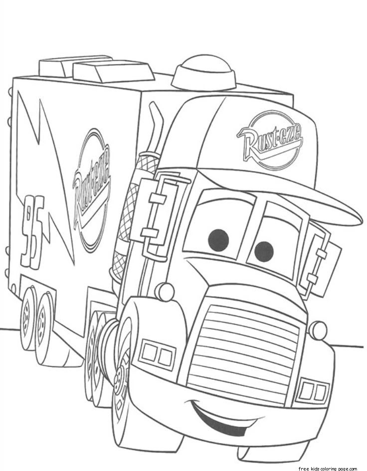 Free Coloring Pages Of Cars 2  cars 2 mack truck car carrier coloring pages for kidsFree