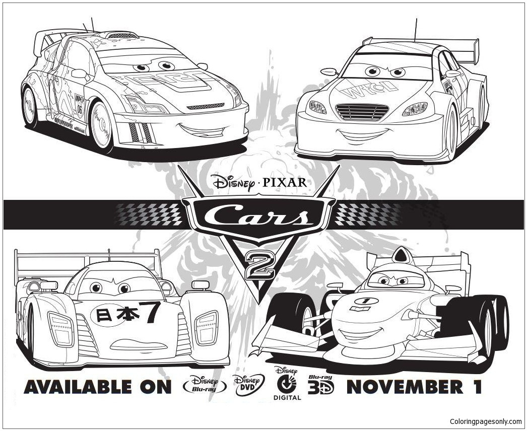 Free Coloring Pages Of Cars 2  Cars 2 Disney Four Cars Coloring Page Free Coloring