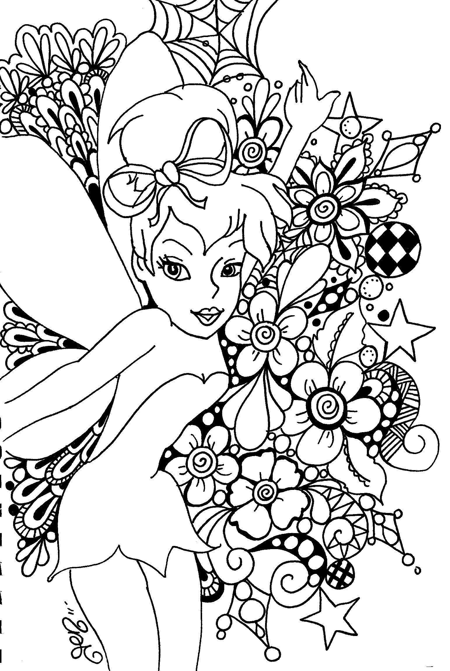 Free Coloring Pages Online Adults  Free Printable Tinkerbell Coloring Pages For Kids