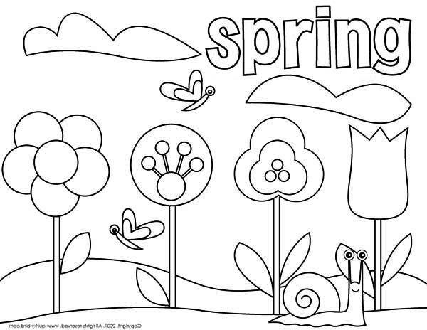 Free Coloring Pages Spring Time  Picture of Springtime Coloring Page Download & Print