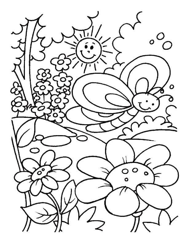 Free Coloring Pages Spring Time  Spring time coloring pages