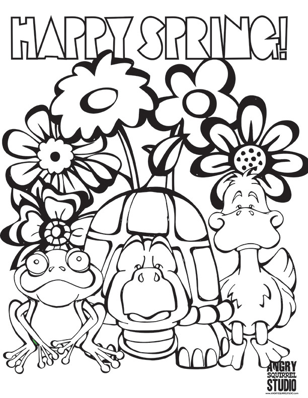 Free Coloring Pages Spring Time  Happy Spring