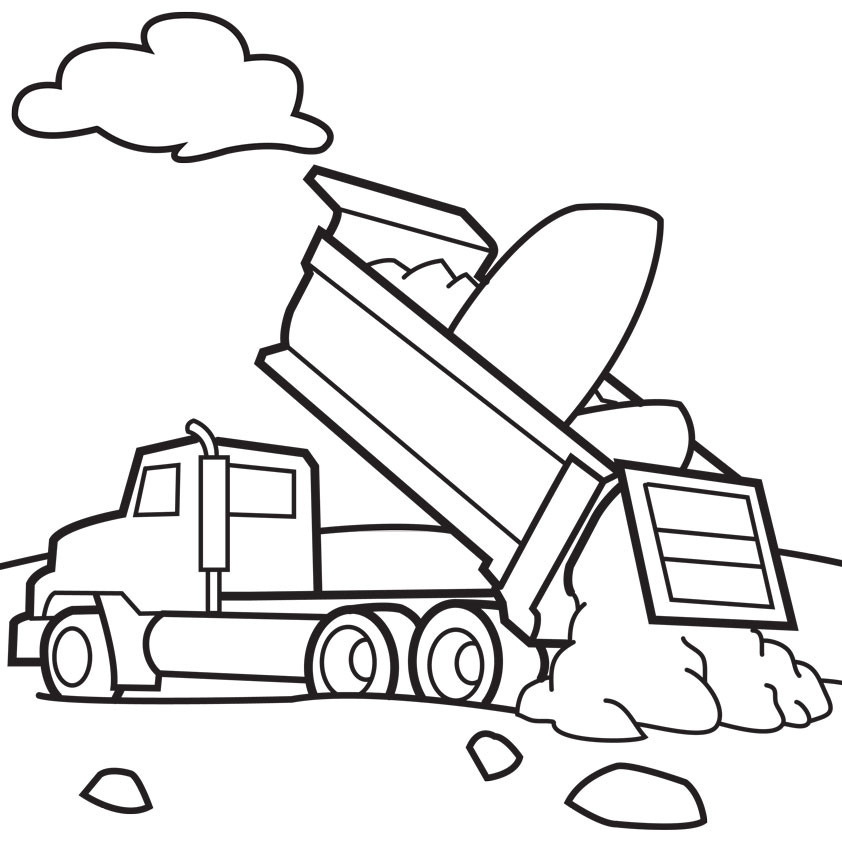 Free Coloring Sheets Construction Trucks  Free Printable Dump Truck Coloring Pages For Kids
