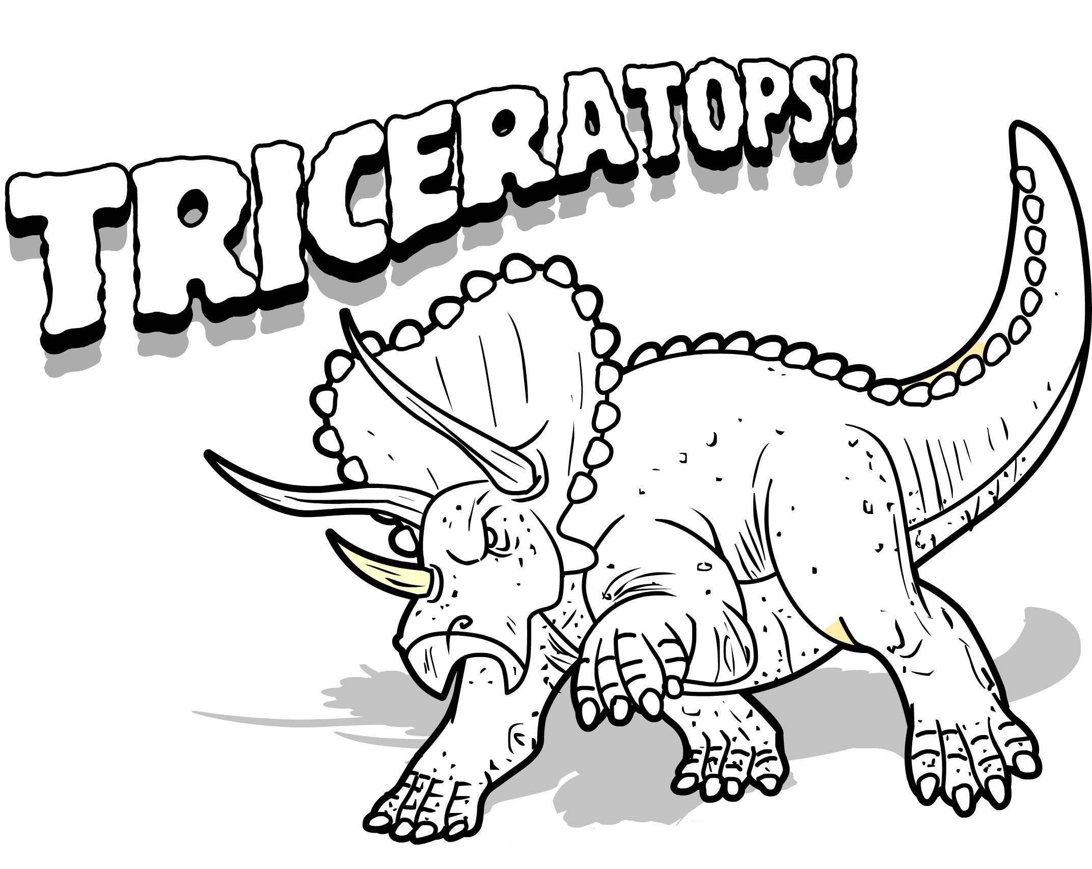 Free Coloring Sheets Dinosaurs  Free Printable Triceratops Coloring Pages For Kids