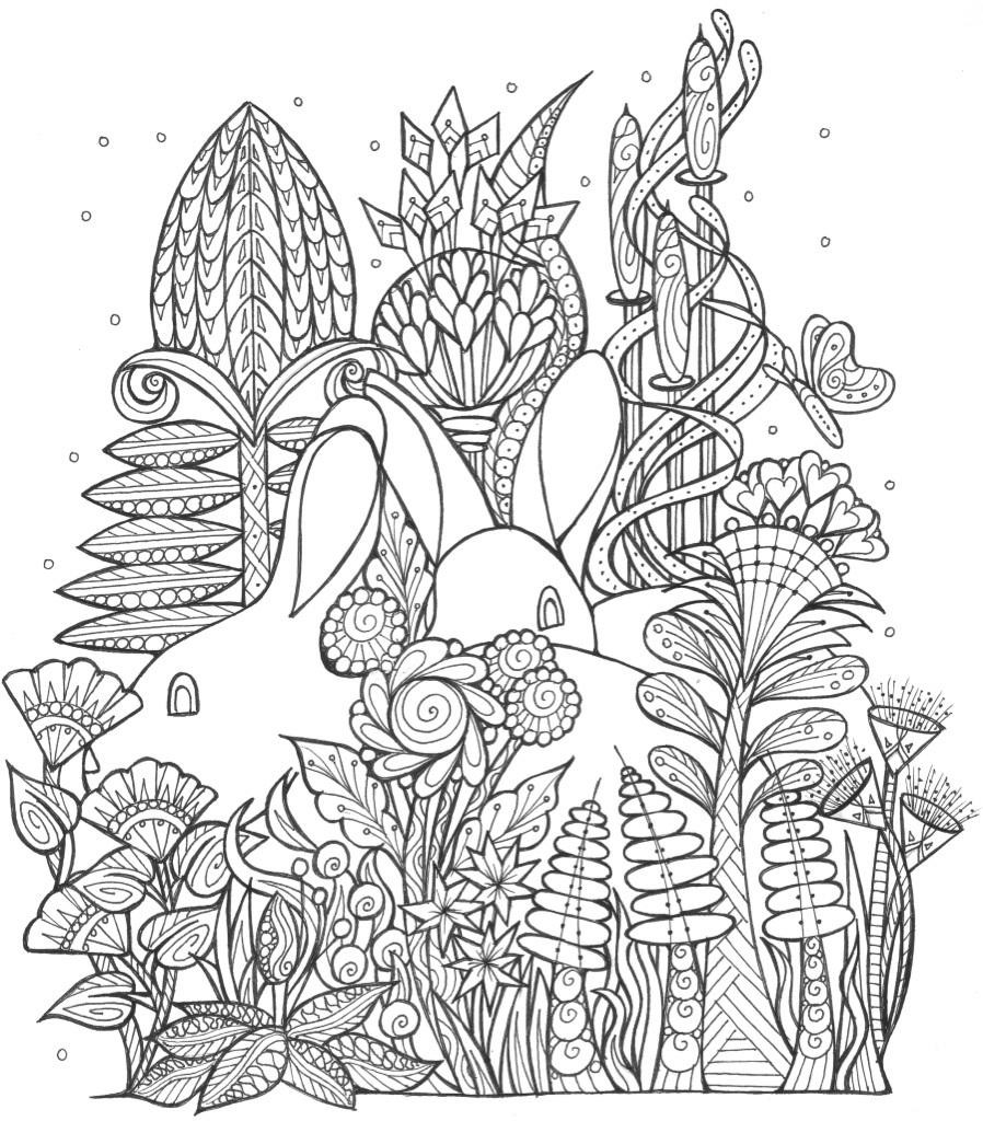 Free Coloring Sheets For Kids For Spring  Spring Bunny Coloring Page