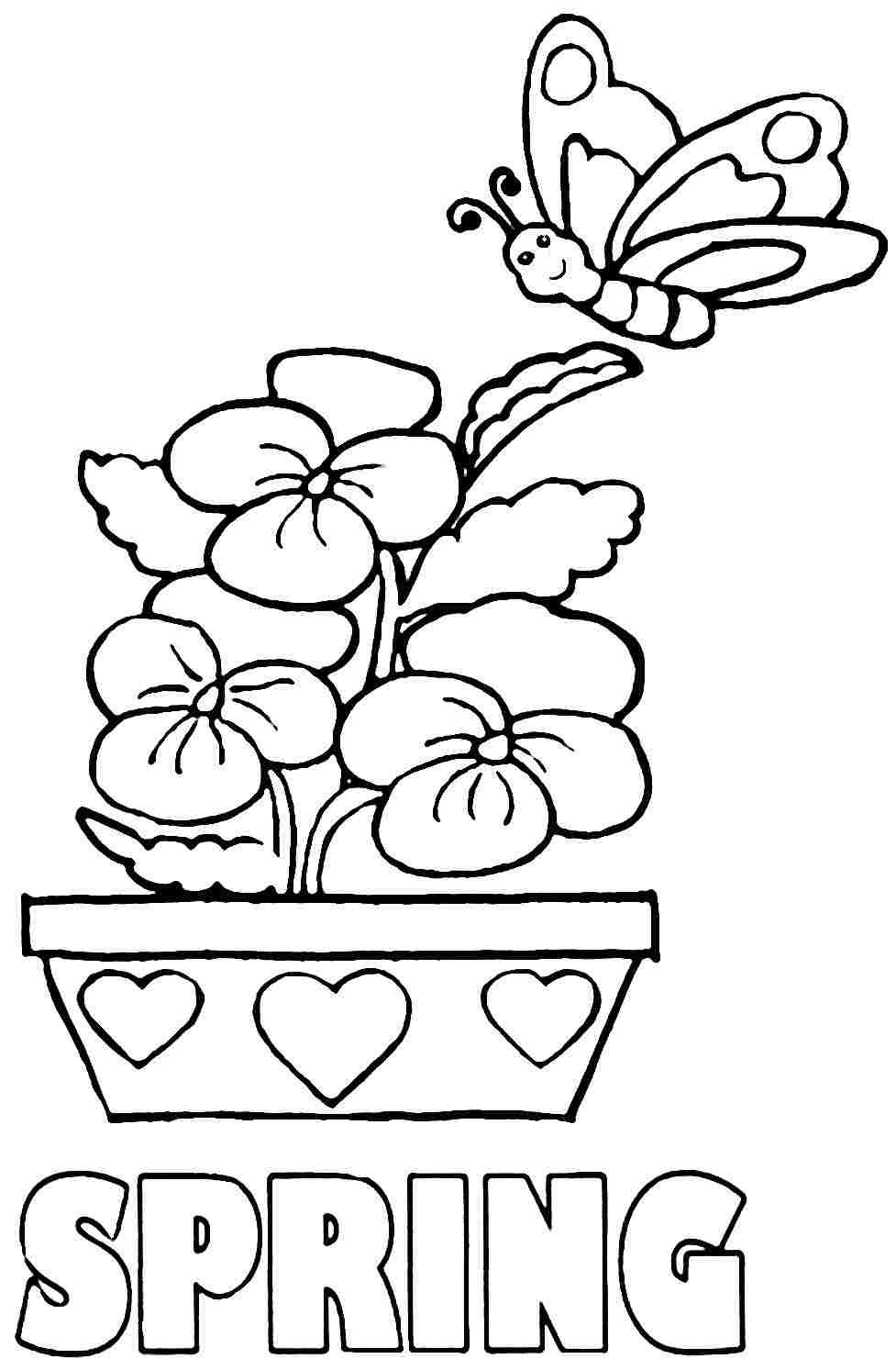 Free Coloring Sheets For Kids For Spring  Easy Spring Coloring Pages For Kids Coloring