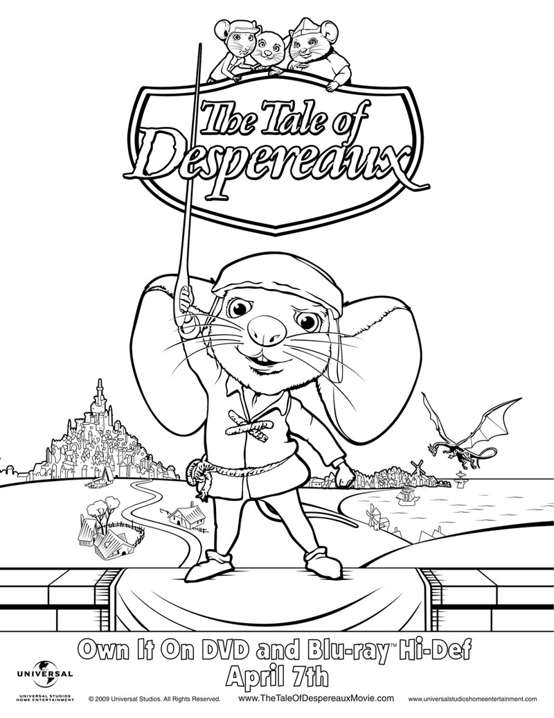 Best ideas about Free Coloring Sheets For Kids Kate Dicamillo Stories . Save or Pin The Tale of Despereaux Now.