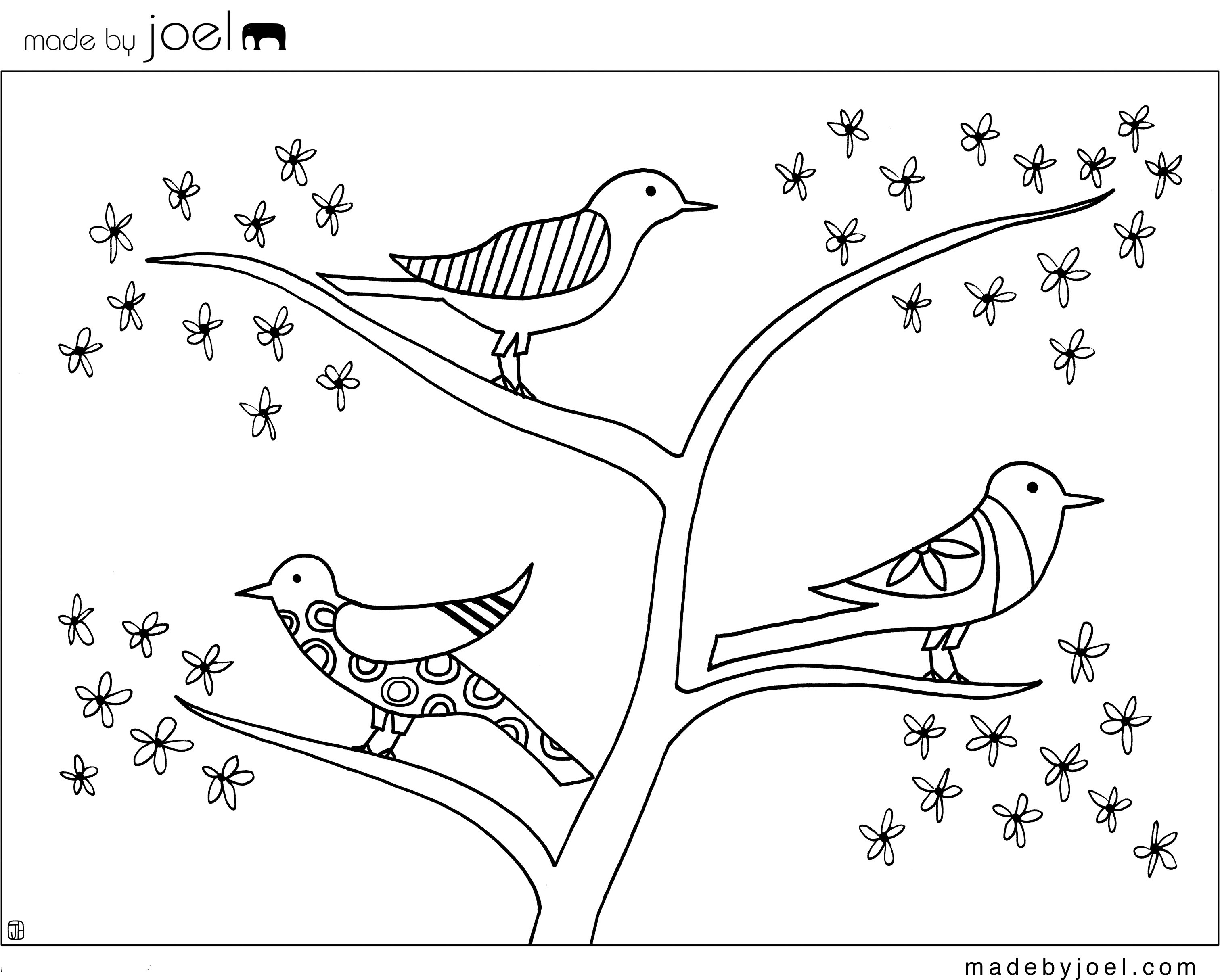 Free Coloring Sheets Of Birds  Made by Joel Giveaway Winners and New Coloring Sheet