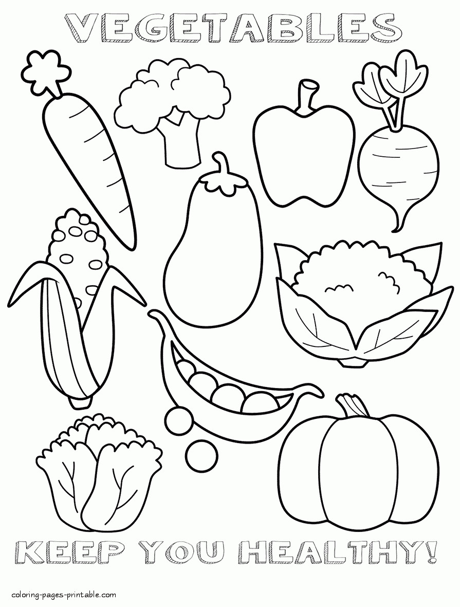 Free Coloring Sheets Of Food  Coloring Pages Healthy Foods Collection
