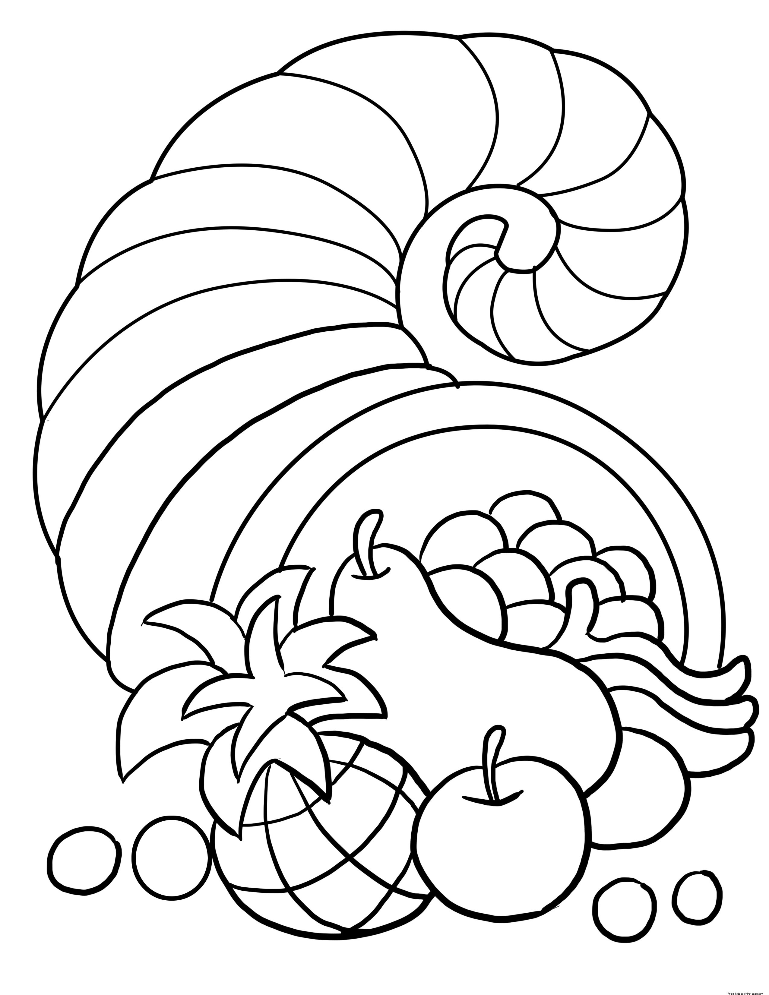 Best ideas about Free Coloring Sheets On Gratutude . Save or Pin thanksgiving cornucopia coloring sheet for kidsFree Now.