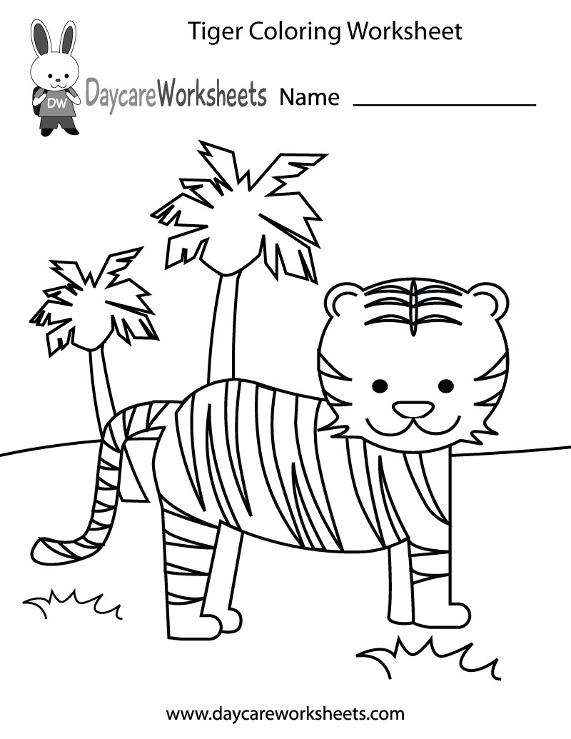 Free Coloring Sheets Preschool  Free Preschool Tiger Coloring Worksheet