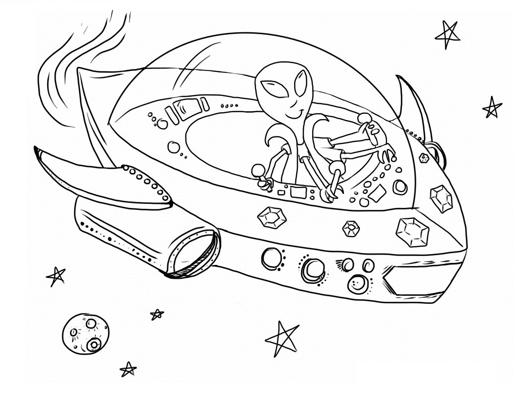 Free Coloring Sheets Space Ship  Free Printable Alien Coloring Pages For Kids