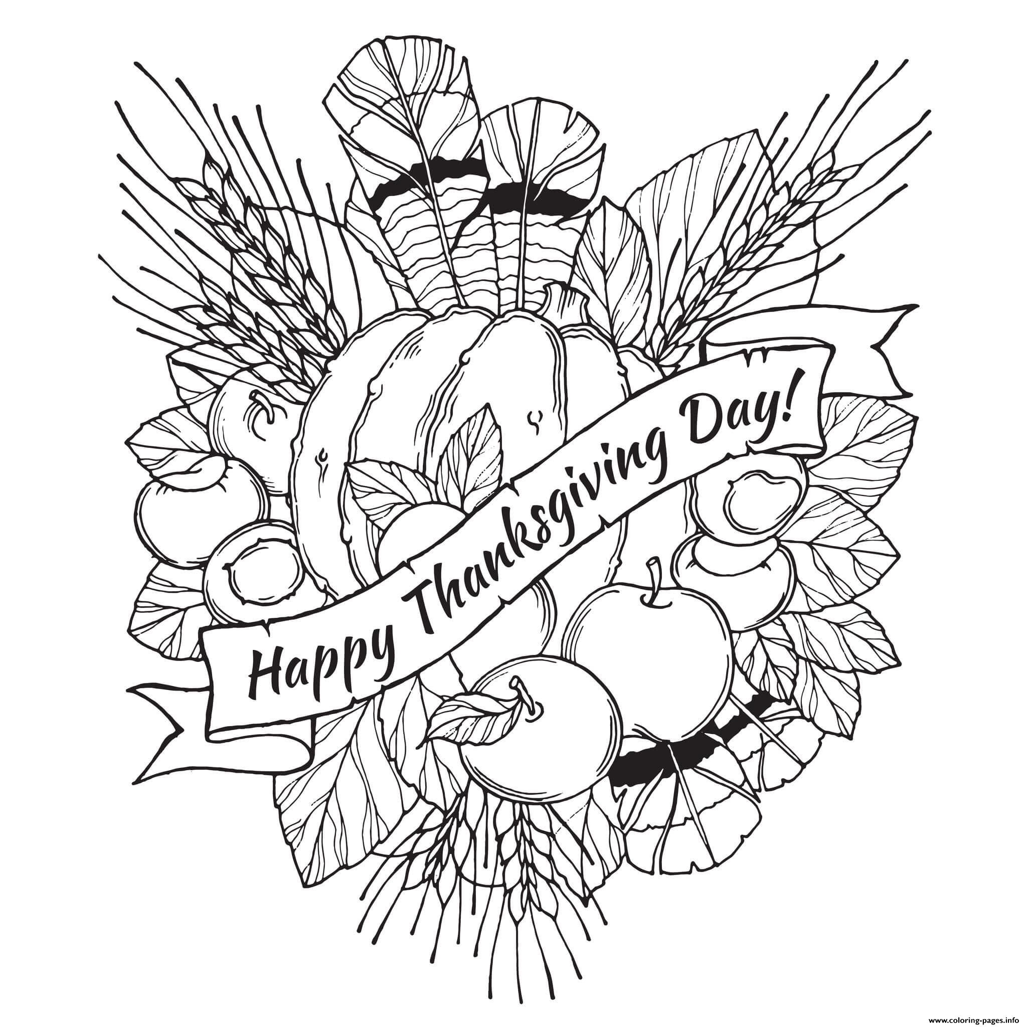 Best ideas about Free Coloring Sheets Thanksgiving Dance . Save or Pin Adult Happy Thanksgiving Day Coloring Pages Printable Now.