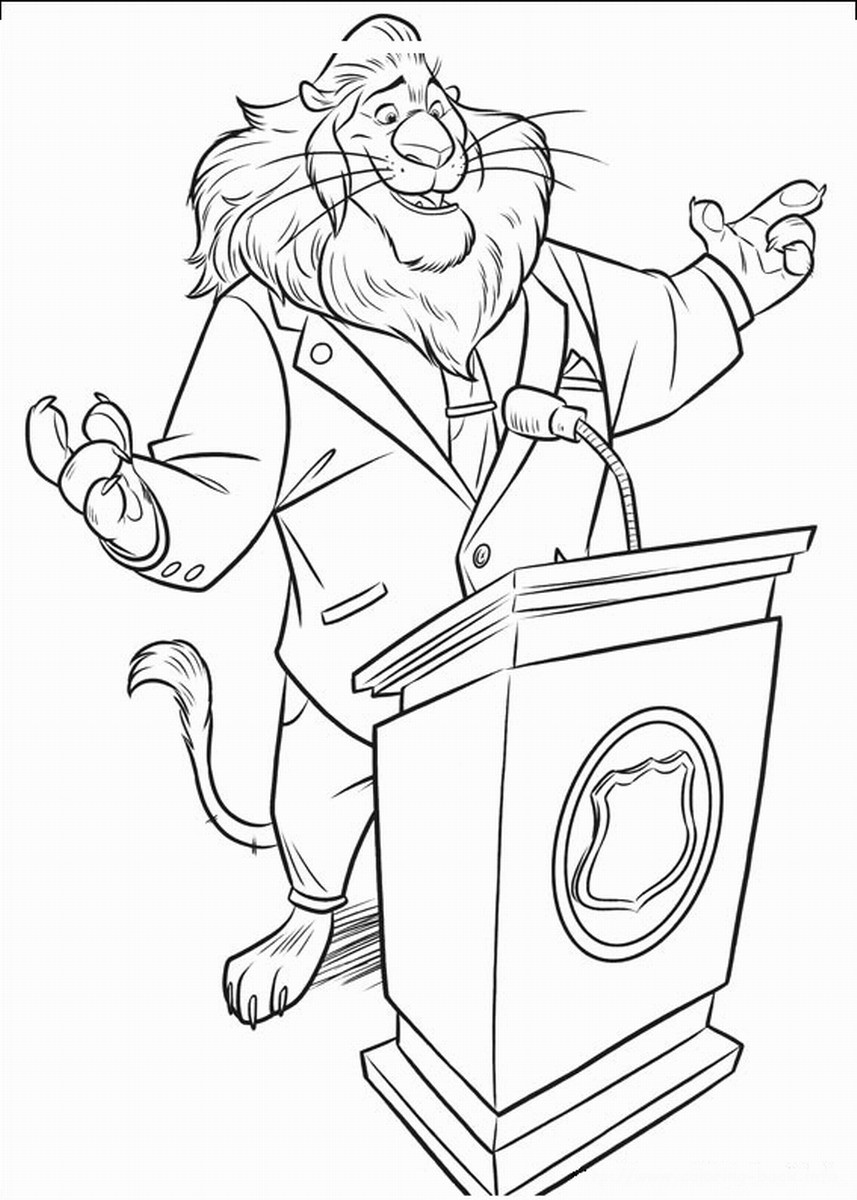 Free Coloring Sheets To Print  Zootropolis Coloring Pages