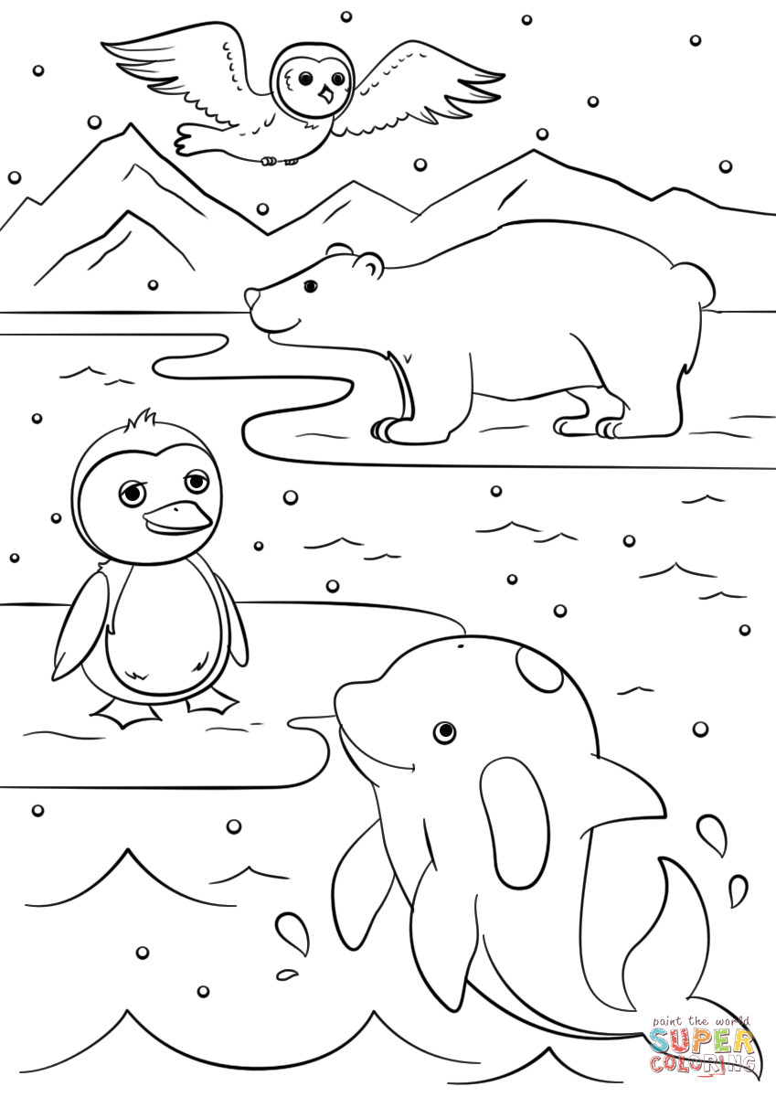 Best ideas about Free Coloring Sheets Winter . Save or Pin Winter Animals coloring page Now.