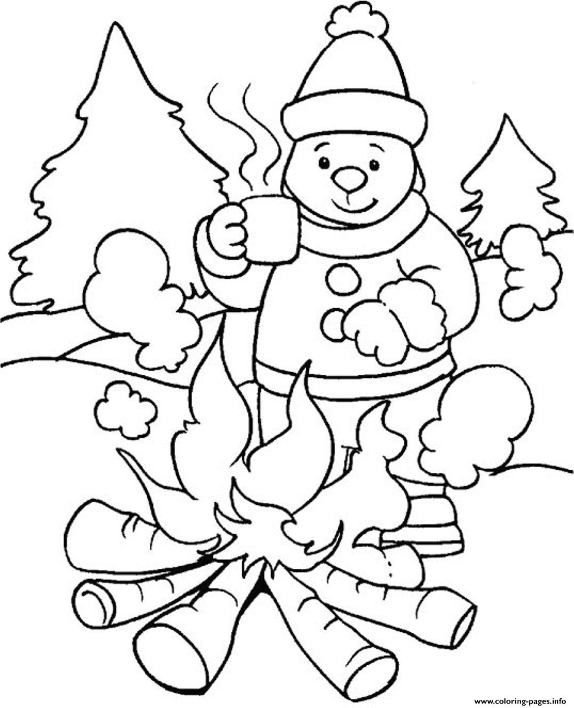 Best ideas about Free Coloring Sheets Winter . Save or Pin Warming With Fire In Winter Sfbbd Coloring Pages Printable Now.