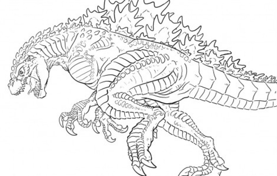 Free Godzilla Coloring Pages For Kids  Get This Free Simple Godzilla Coloring Pages for Children