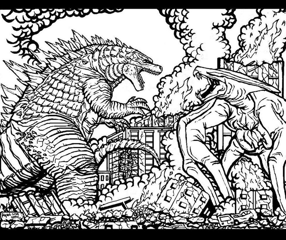 Free Godzilla Coloring Pages For Kids  Godzilla 2014 Coloring Page AZ Coloring Pages