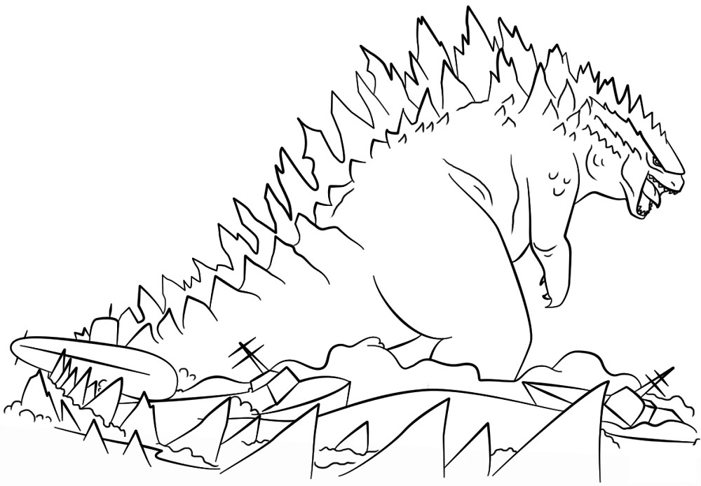 Free Godzilla Coloring Pages For Kids  Godzilla Coloring Pages to Print Free