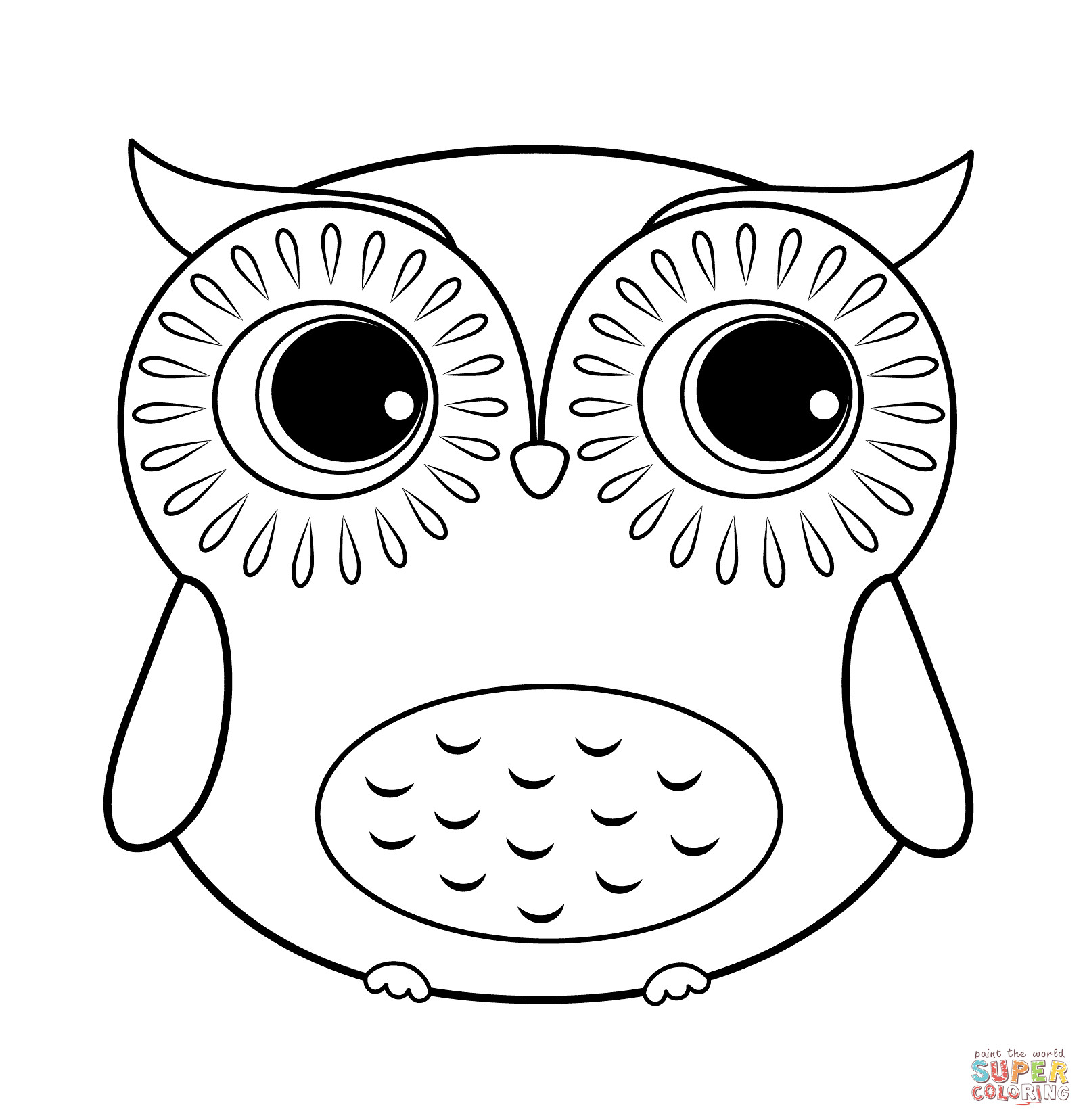 Free Owl Coloring Pages  Cartoon Owl coloring page