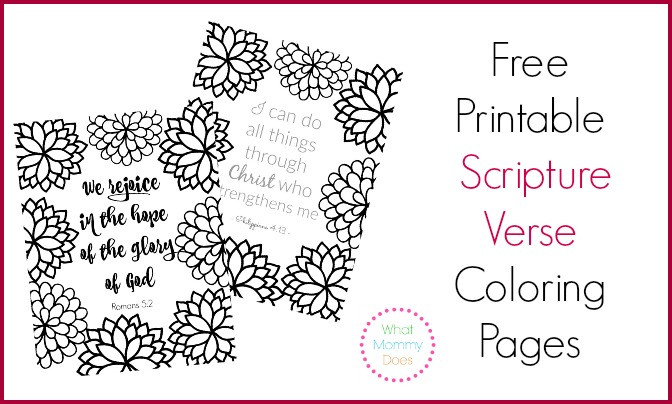 Free Printable Bible Coloring Pages With Scriptures  Free Printable Scripture Verse Coloring Pages What Mommy