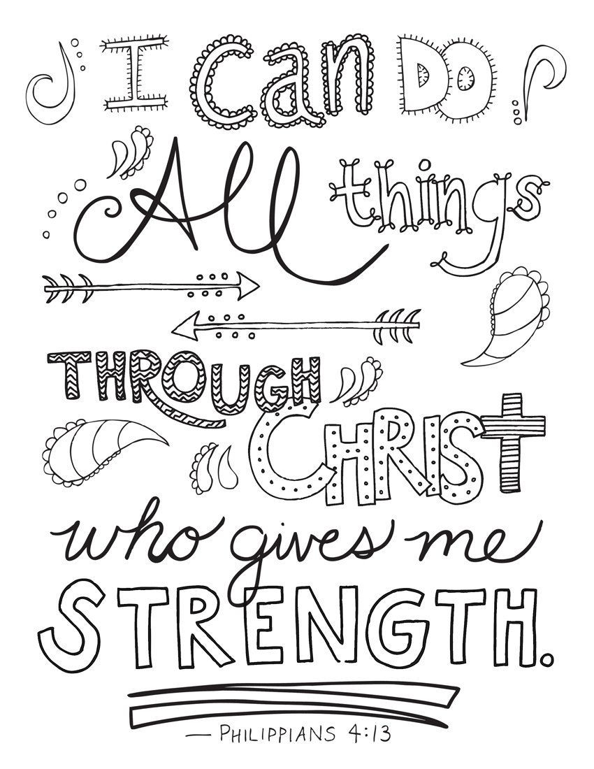 Free Printable Bible Coloring Pages With Scriptures  Bible Verse Coloring Page Philippians 4 13 by