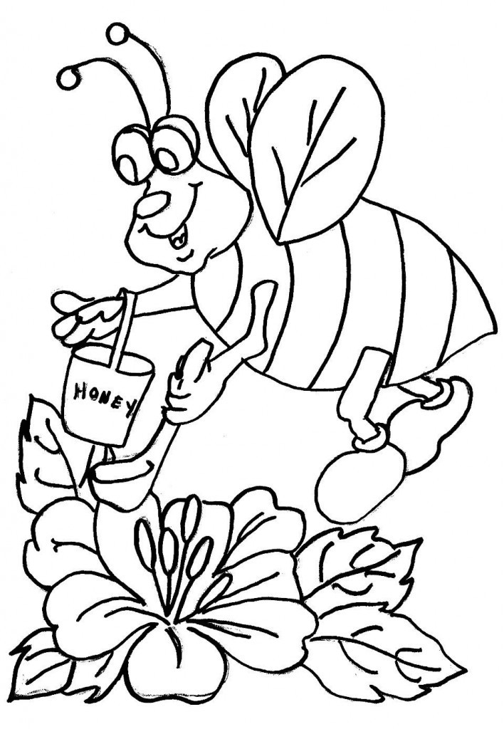 Free Printable Coloring Books For Toddlers  Free Printable Bee Coloring Pages For Kids