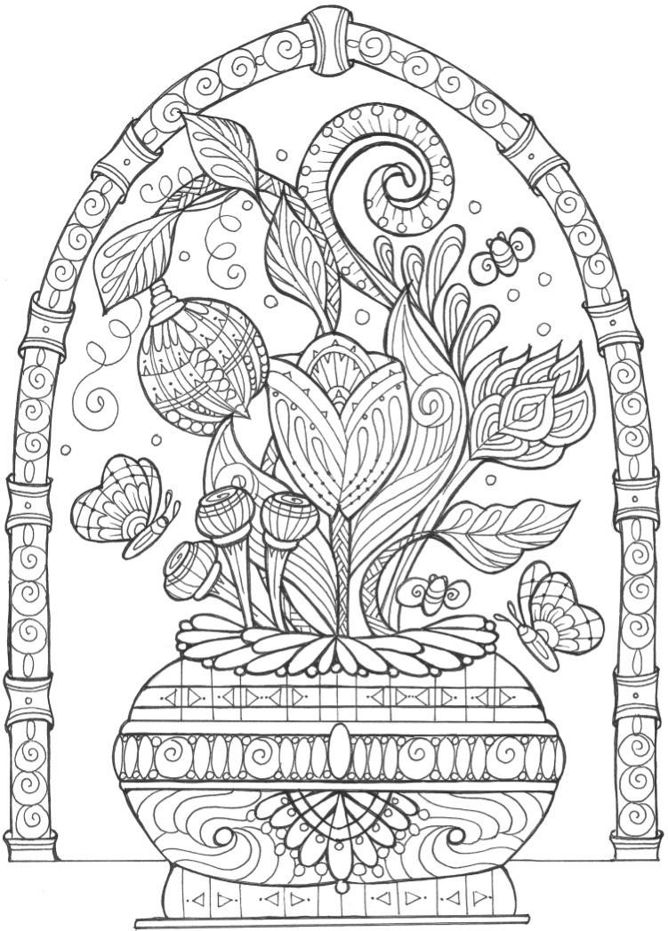 Best ideas about Free Printable Coloring Pages For Adults Only Pdf . Save or Pin Vase of Flowers Adult Coloring Page Now.