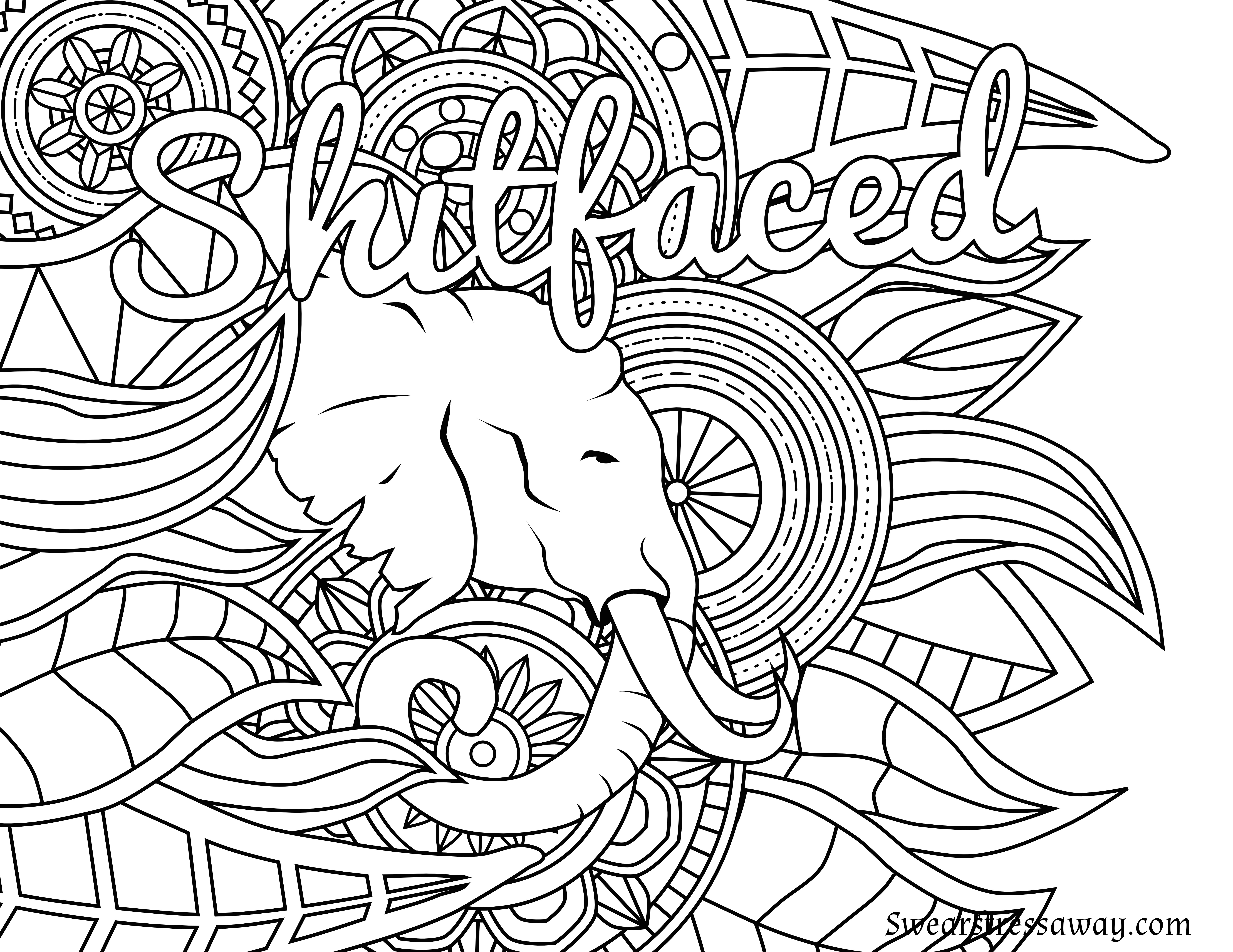 Free Printable Coloring Pages For Adults Only Swear Words  Free Printable Coloring Page Shitfaced Swear Word