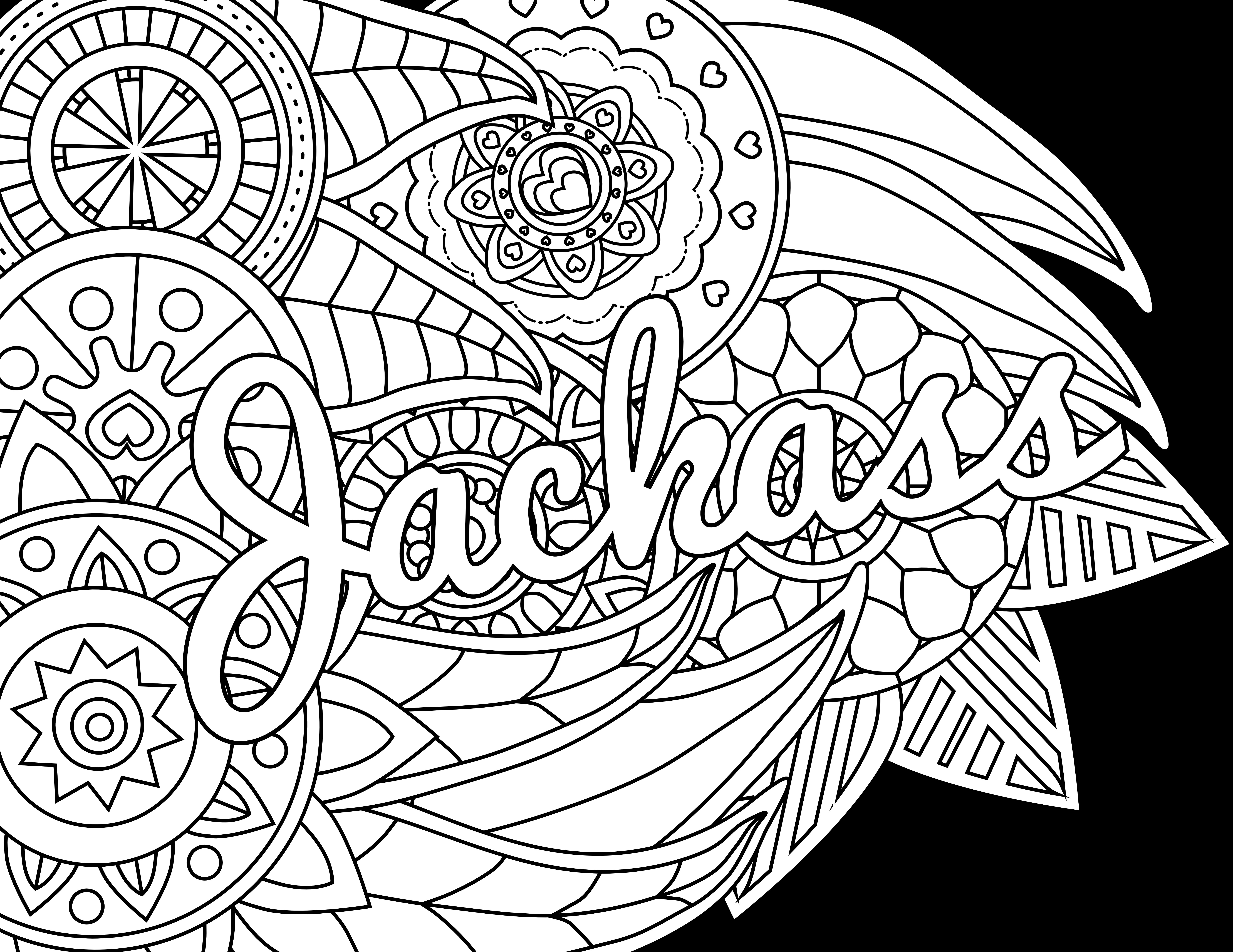 Free Printable Coloring Pages For Adults Only Swear Words  Jackass Adult Coloring Page Color & Swear Blackout