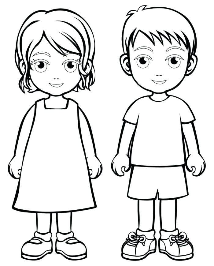Free Printable Coloring Pages For Girls And Boys  Outline A Boy And Girl Coloring Pages