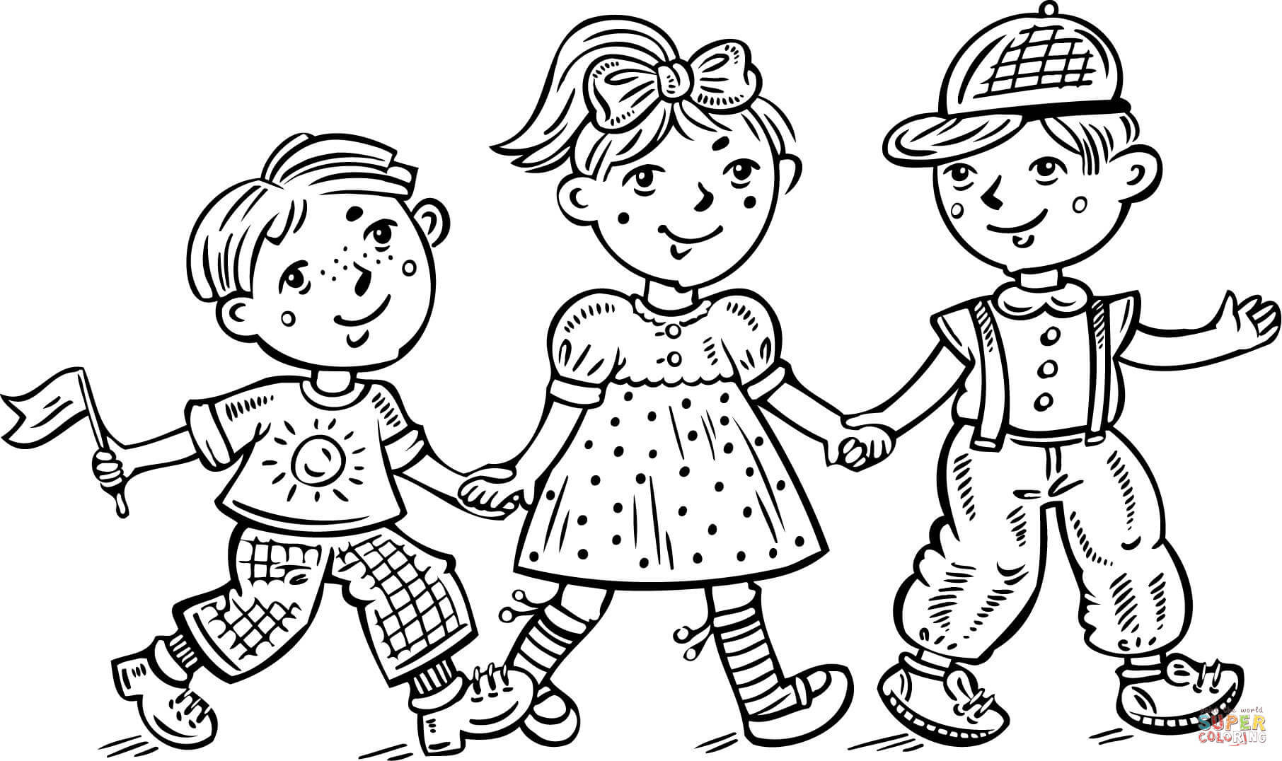 Free Printable Coloring Pages For Girls And Boys  Children Boys and a Girl Celebrating coloring page
