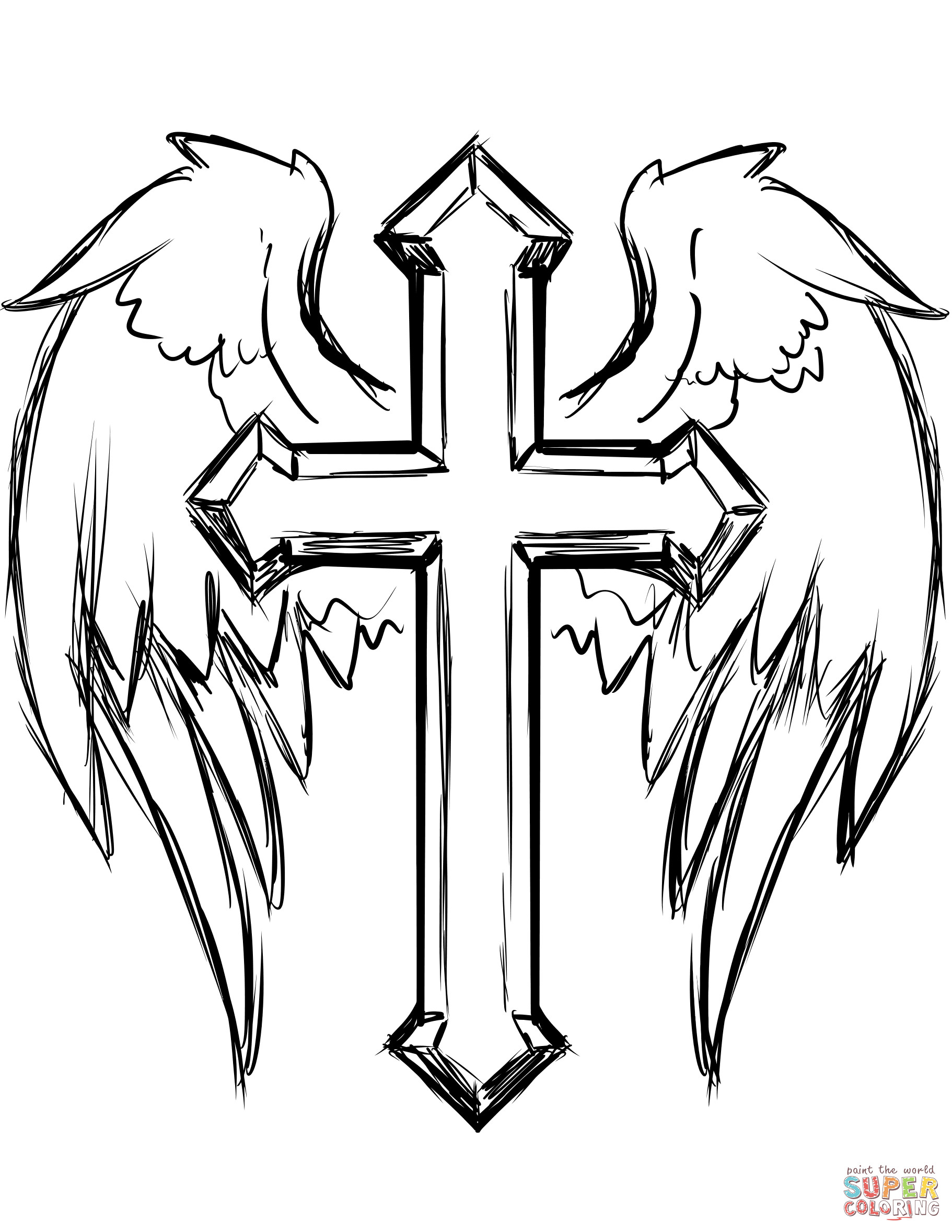 Free Printable Coloring Pages Of Crosses  Cross with Wings coloring page