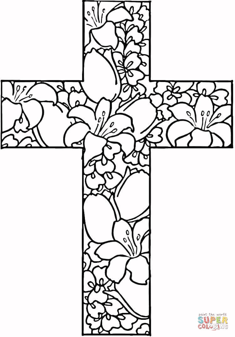 Free Printable Coloring Pages Of Crosses  Religious Quotes Coloring Pages Adult QuotesGram