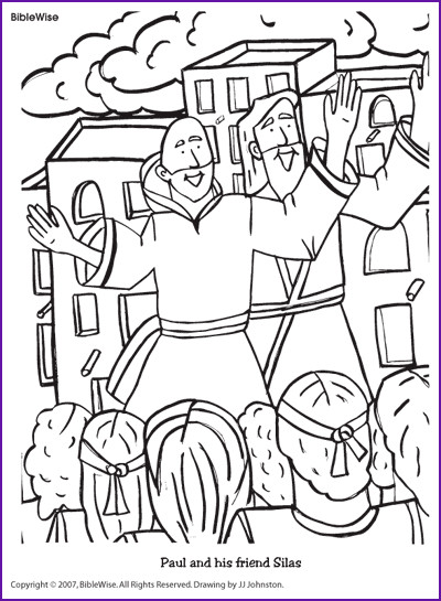 Free Printable Coloring Pages Of Paul And Silas  Coloring Paul and His Friend Silas Kids Korner BibleWise