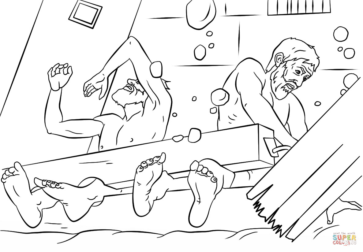 Free Printable Coloring Pages Of Paul And Silas  Paul and Silas survives Earthquake coloring page