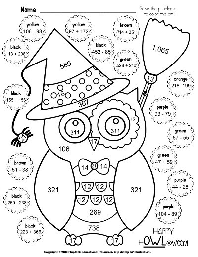 """Free Printable Coloring Sheets For 4Th And 5Th Graders  FlapJack Educational Resources H""""OWL""""oween Poke Math"""