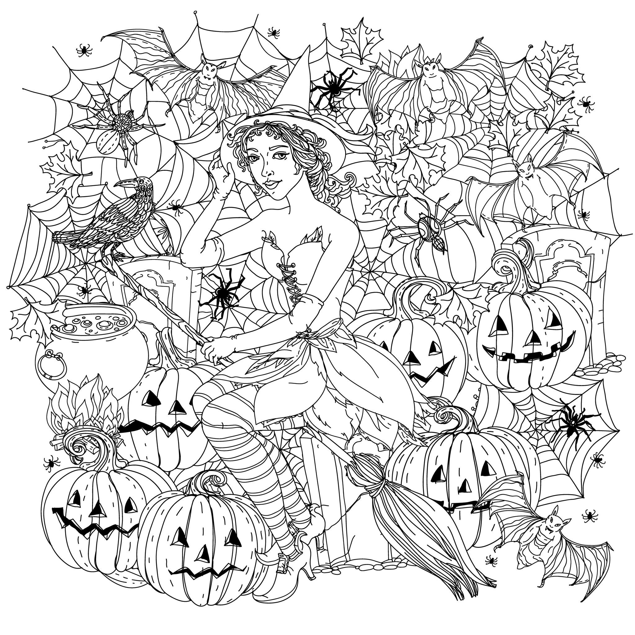 Free Printable Coloring Sheets For Adults Halloween  Halloween witch with pumpkins Halloween Adult Coloring Pages