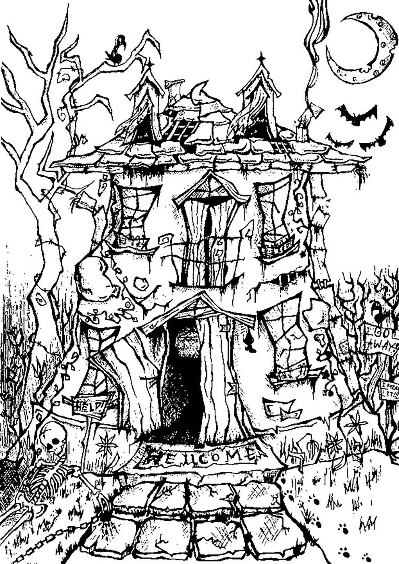 Free Printable Coloring Sheets For Adults Halloween  Halloween haunted house Halloween Adult Coloring Pages