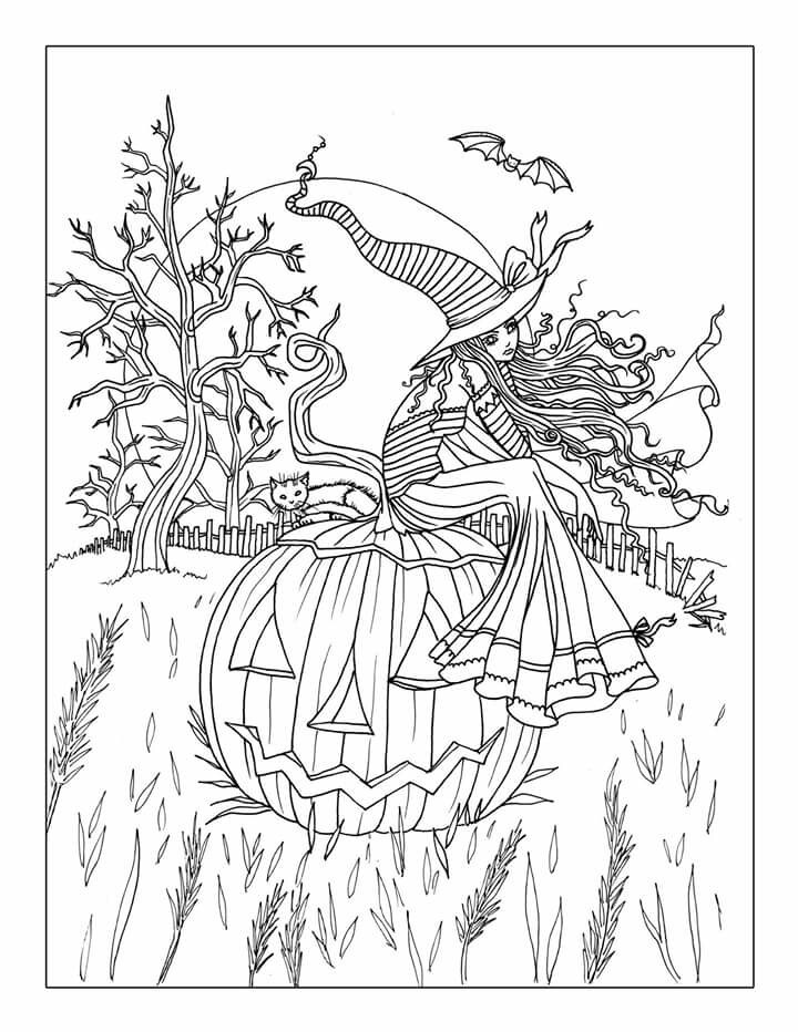 Free Printable Coloring Sheets For Adults Halloween  Free Printable Halloween Coloring Pages Adults Coloring Home