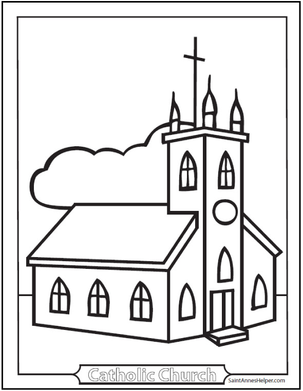 Free Printable Coloring Sheets For Church  9 Church Coloring Pages From Simple To Ornate