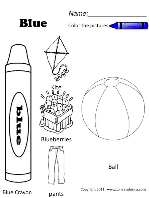 Best ideas about Free Printable Coloring Sheets For Preschoolers On The Color Blue . Save or Pin Z'onae Coloring education colors colors worksheets 1 english Now.