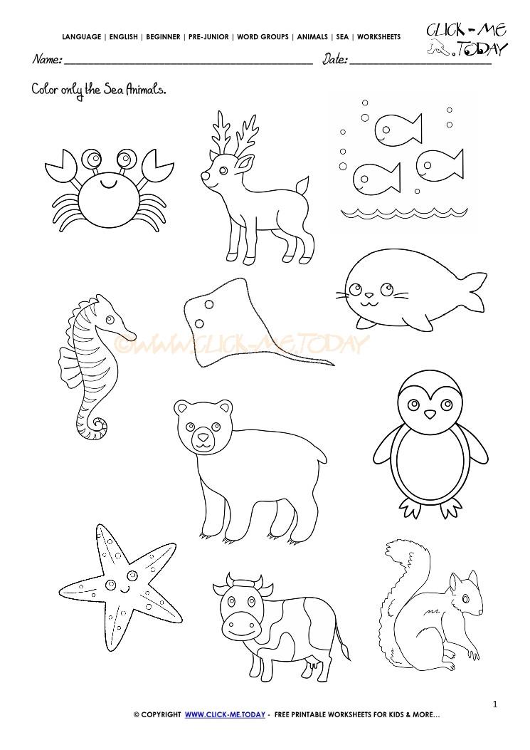 Free Printable Coloring Sheets Of Animals For 5 Grades  Sea Animals Worksheet Activity sheet Color 1