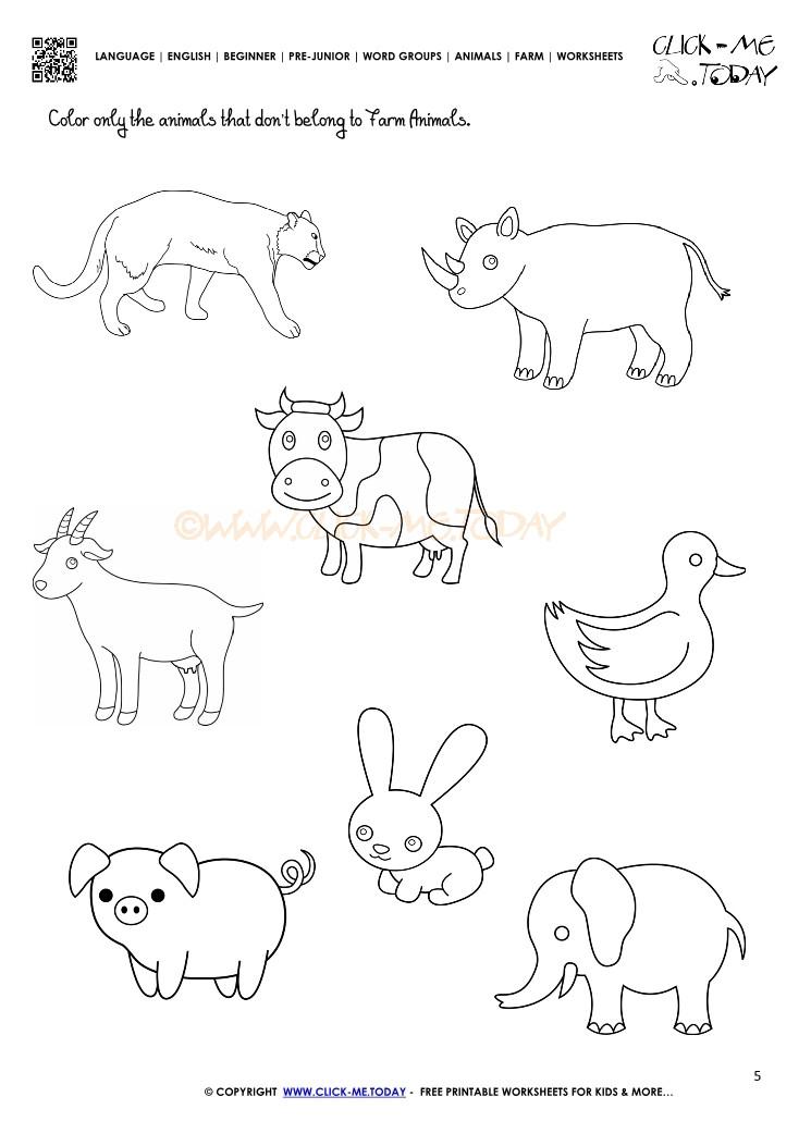 Free Printable Coloring Sheets Of Animals For 5 Grades  Farm Animals Worksheet Activity Sheet 5