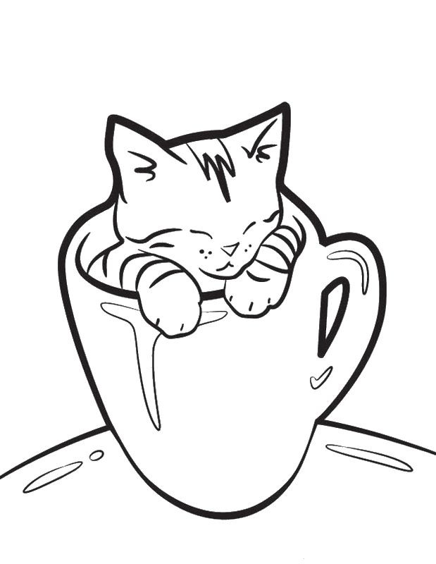 Best ideas about Free Printable Coloring Sheets Of Baby Animals With Big Eyes And Are Kittens . Save or Pin Coloriage de Chat dessin Il dort dans une tasse à colorier Now.