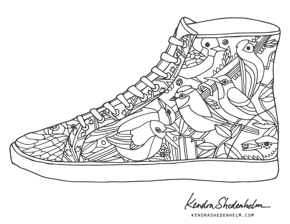 Best ideas about Free Printable Coloring Sheets Shoes . Save or Pin Birds doodles shoes and FREE coloring pages — Kendra Now.